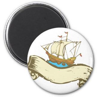 Pirate Ship banner 6 Cm Round Magnet