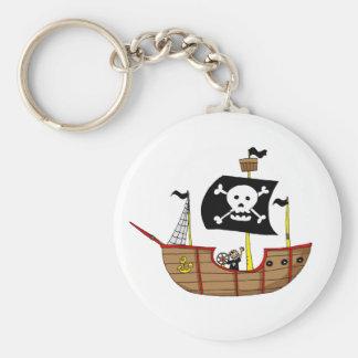 Pirate ship basic round button key ring