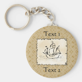 Pirate Ship. Basic Round Button Key Ring