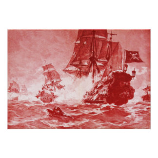 PIRATE SHIP BATTLE IN ANTIQUE RED POSTER
