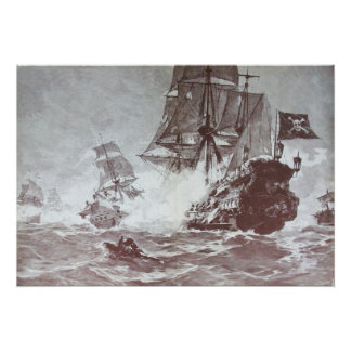 PIRATE SHIP BATTLE IN BLACK AND WHITE POSTER