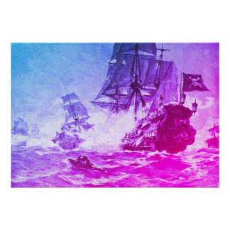 PIRATE SHIP BATTLE IN PURPLE BLUE POSTER
