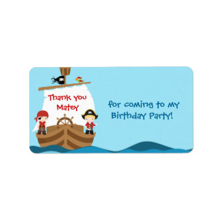 Pirate Ship Birthday Favor Tag Label