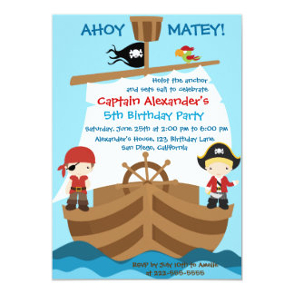 Pirate Ship Birthday Party Invitation