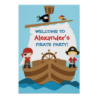 Pirate Ship Birthday Party Poster