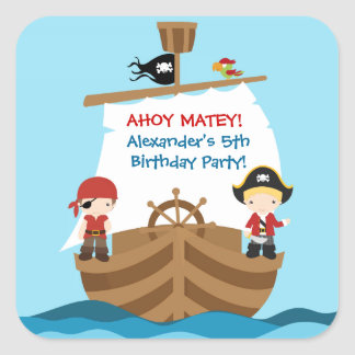 Pirate Ship Birthday Party Sticker