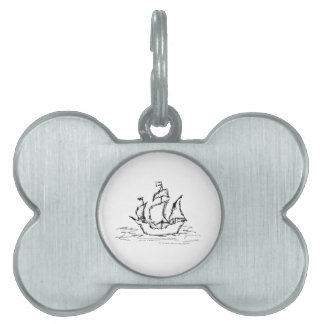 Pirate Ship. Black and White. Pet ID Tag