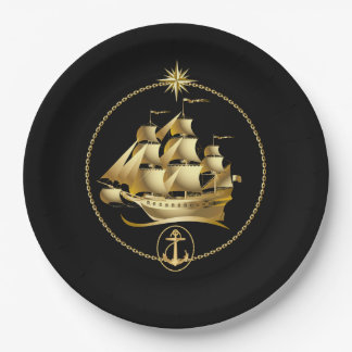 Pirate ship black & gold birthday plate
