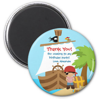 Pirate Ship Boy Birthday Party Thank You Magnet