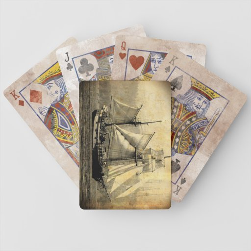 Pirate ship distressed playing cards