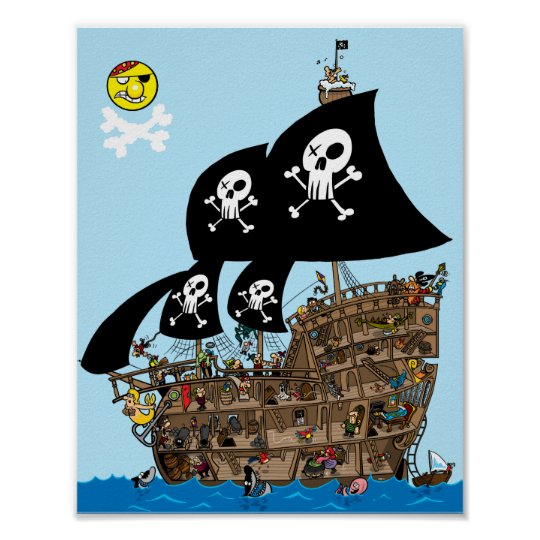 Pirate Ship Escape Poster Zazzle Co Uk
