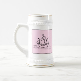 Pirate Ship Galleon. Black and Pink. Beer Stein