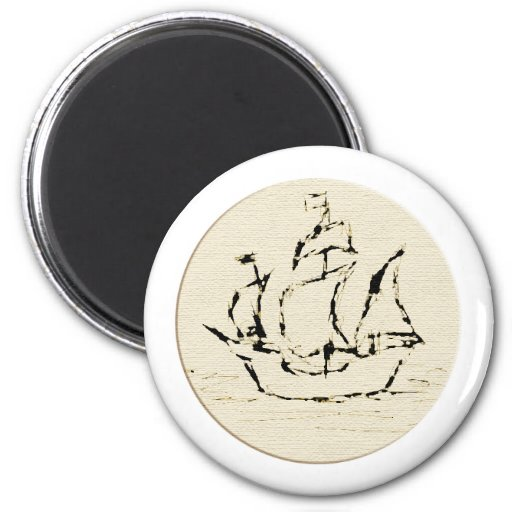 Pirate Ship Galleon. Old ship in cream and black. Fridge Magnets