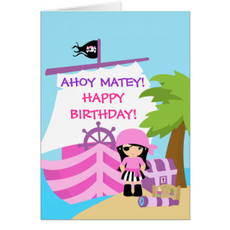 Pirate Ship Girl Birthday greeting Card