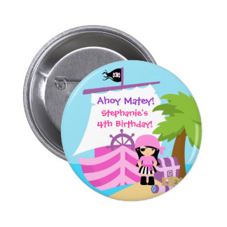 Pirate Ship Girl Birthday Party Button