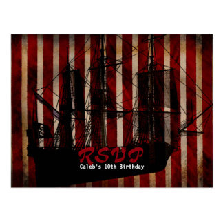 Pirate Ship Grunge Birthday Party RSVP Postcard