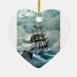 Pirate Ship In A Storm Ceramic Heart Decoration
