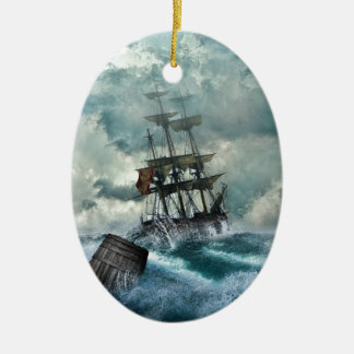 Pirate Ship In A Storm Ceramic Oval Decoration