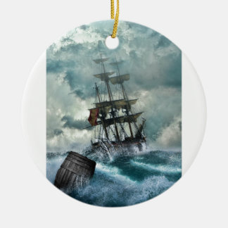 Pirate Ship In A Storm Round Ceramic Decoration