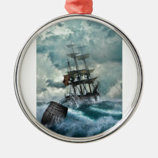 Pirate Ship In A Storm Silver-Colored Round Decoration