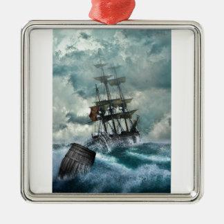Pirate Ship In A Storm Silver-Colored Square Decoration