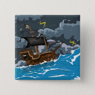 Pirate Ship in Storm 15 Cm Square Badge