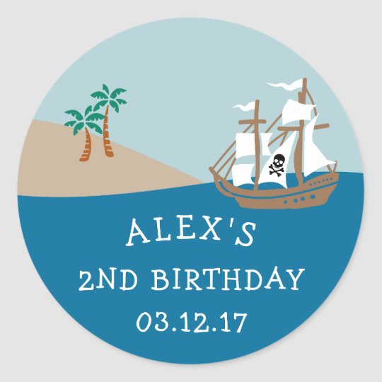 Pirate Ship Kids Birthday Party Round Sticker