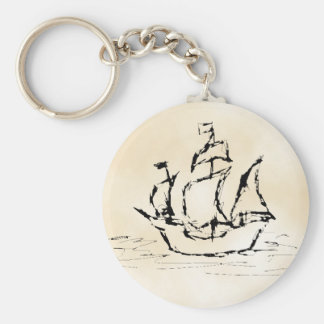 Pirate Ship. Parchment Pattern Background. Basic Round Button Key Ring