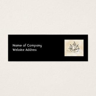 Pirate Ship. Parchment Pattern Background. Mini Business Card