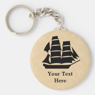Pirate Ship. Sailing Ship. Basic Round Button Key Ring