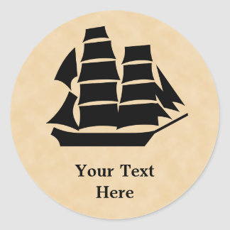 Pirate Ship. Sailing Ship. Classic Round Sticker