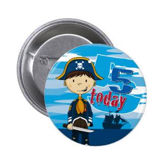Pirate Ship Scene 5th Birthday Button Badge