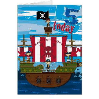 Pirate Ship Scene 5th Birthday Card