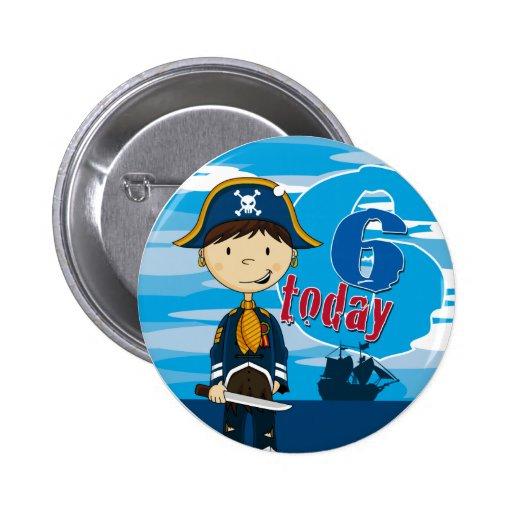Pirate Ship Scene 6th Birthday Button Badge