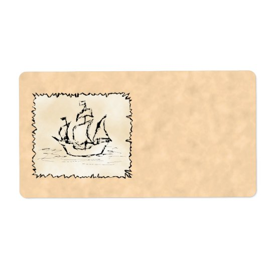 Pirate Ship. Shipping Label