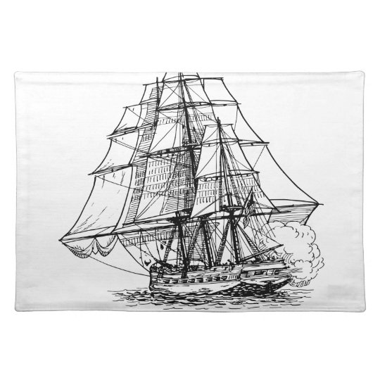 Pirate Ship Silhouette Place Mat