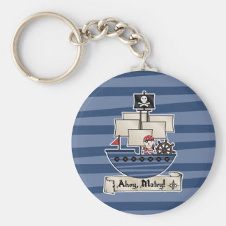 Pirate Ship | Skeleton Skull Pirate | Ahoy Matey! Basic Round Button Key Ring