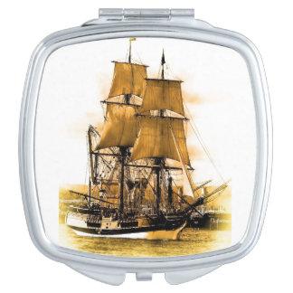 Pirate Ship Square Compact Mirror
