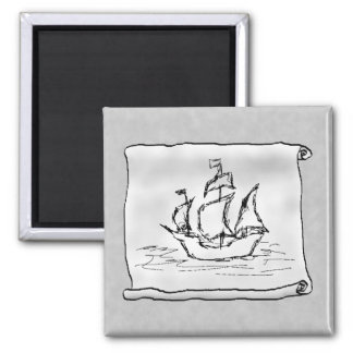 Pirate Ship. Square Magnet