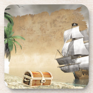 Pirate ship that discovers a treasure coaster