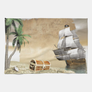 Pirate ship that discovers a treasure tea towel