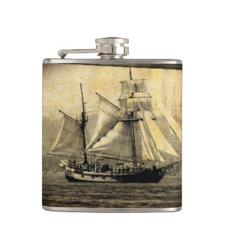 Pirate ship Vinyl Wrapped Flask