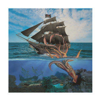 Pirate Ship vs The Giant Squid Wood Print