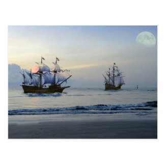 Pirate Ships Setting Sail Postcard