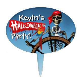Pirate Skeleton Sailor with Macaw Halloween Party Cake Toppers