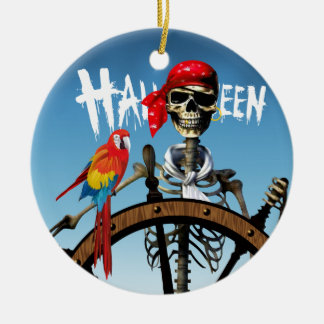 Pirate Skeleton Sailor with Macaw Halloween Party Round Ceramic Decoration