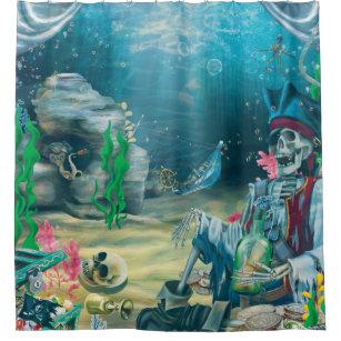 Pirate Skeleton Treasure Under The Sea Shower Curtain