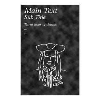 Pirate Sketch. Black and White. 14 Cm X 21.5 Cm Flyer