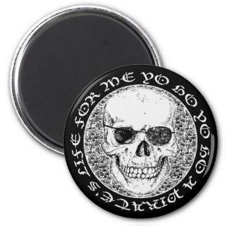 pirate skull 6 cm round magnet