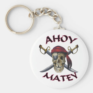 Pirate skull Ahoy Matey Basic Round Button Key Ring
